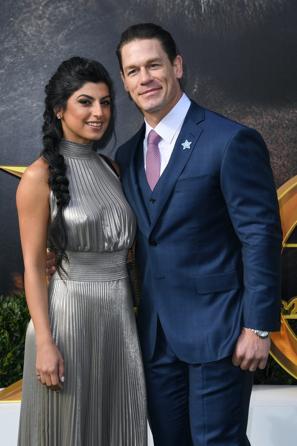 "WESTWOOD, CALIFORNIA - JANUARY 11: (L-R) Shay Shariatzadeh and John Cena attend the Premiere of Universal Pictures' ""Dolittle"" at Regency Village Theatre on January 11, 2020 in Westwood, California. (Photo by Jon Kopaloff/Getty Images)"