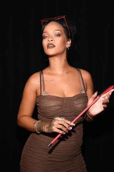 BROOKLYN, NY - SEPTEMBER 12:  Rihanna poses backstage for the Savage X Fenty Fall/Winter 2018 fashio...