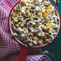 Homemade popcorn with nutritional yeast.