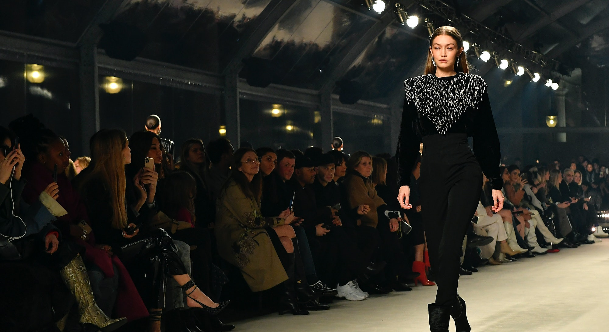 PARIS, FRANCE - FEBRUARY 27: (EDITORIAL USE ONLY) Gigi Hadid walks the runway during the Isabel Marant show as part of the Paris Fashion Week Womenswear Fall/Winter 2020/2021 on February 27, 2020 in Paris, France. (Photo by Aurelien Meunier/Getty Images)