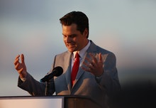 "DORAL, FLORIDA - APRIL 09: Rep. Matt Gaetz (R-Fl) speaks during the ""Save America Summit"" at the Tru..."