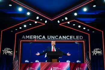 ORLANDO, FL - FEBRUARY 28: Former President Donald J Trump speaks during the final day of the Conservative Political Action Conference CPAC held at the Hyatt Regency Orlando on Sunday, Feb 28, 2021 in Orlando, FL. (Photo by Jabin Botsford/The Washington Post via Getty Images)