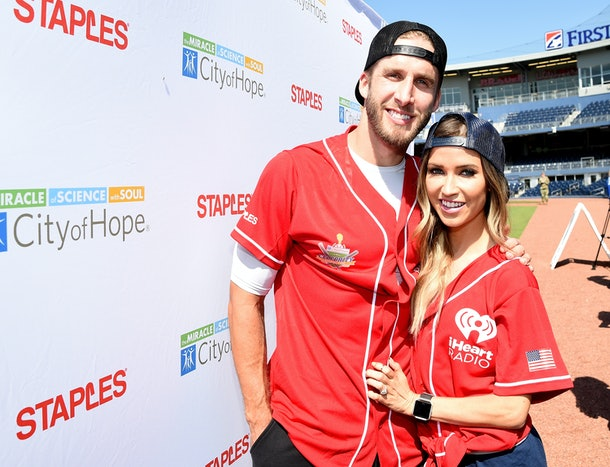 NASHVILLE, TN - JUNE 10: Shawn Booth (L) and Kaitlyn Bristowe (R) from NBC's The Bachlorette arrive at the 27th Annual City of Hope Celebrity Softball Game at First Tennessee Park on June 10, 2017 in Nashville, Tennessee.  (Photo by Rick Diamond/Getty Images for City Of Hope)