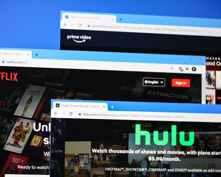 Websites of most popular online video streaming platforms in the world - Netflix, Hulu, Amazon Prime