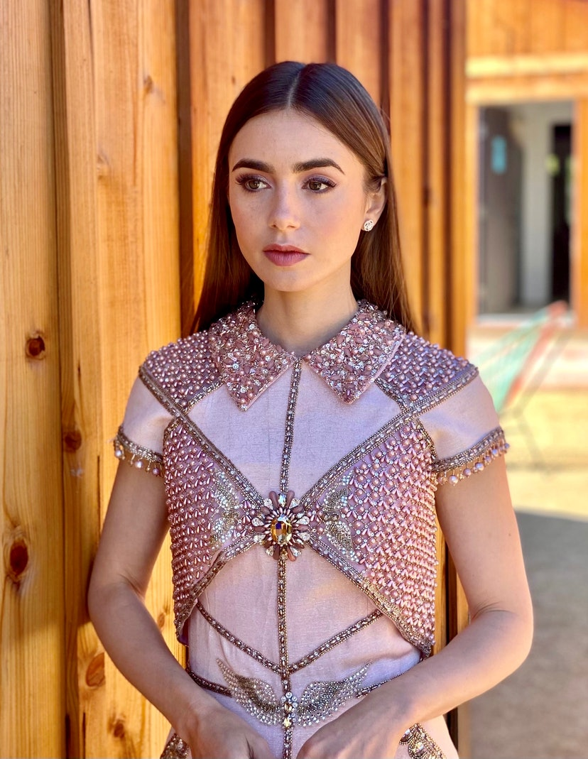 OJAI, CA - FEBRUARY 22:  Lily Collins is seen in her award show look for the 27th Annual Screen Actors Guild Awards on February 22, 2021 in Ojai, California. Due to COVID-19 restrictions the 2021 SAG Awards will be a one-hour, pre-taped event airing April 4 on TNT and TBS.  (Photo by Megan Gray via Getty Images)