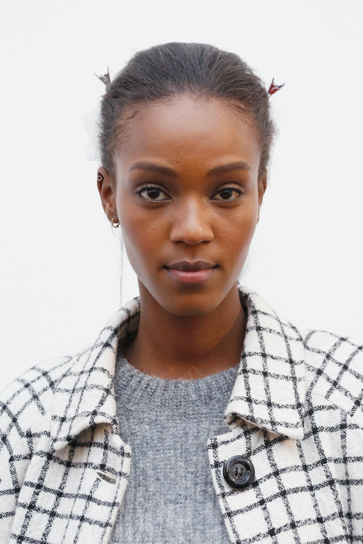 NEW YORK, NY - FEBRUARY 14:  Model Leila Nda poses backstage at the Jonathan Simkhai fashion show du...