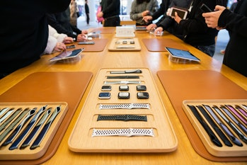 SHANGHAI, CHINA - 2020/01/12: Apple Watch Series 5 displayed at an Apple retail store in Shanghai. (Photo by Alex Tai/SOPA Images/LightRocket via Getty Images)