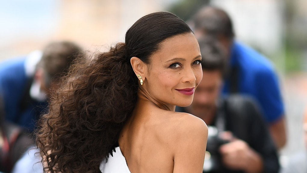 """TOPSHOT - British actress Thandie Newton poses on May 15, 2018 during a photocall for the film """"Solo : A Star Wars Story"""" at the 71st edition of the Cannes Film Festival in Cannes, southern France. (Photo by Anne-Christine POUJOULAT / AFP) (Photo by ANNE-CHRISTINE POUJOULAT/AFP via Getty Images)"""