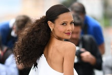 """TOPSHOT - British actress Thandie Newton poses on May 15, 2018 during a photocall for the film """"Solo..."""