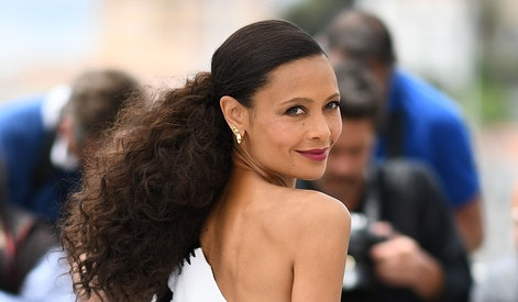 "TOPSHOT - British actress Thandie Newton poses on May 15, 2018 during a photocall for the film ""Solo : A Star Wars Story"" at the 71st edition of the Cannes Film Festival in Cannes, southern France. (Photo by Anne-Christine POUJOULAT / AFP) (Photo by ANNE-CHRISTINE POUJOULAT/AFP via Getty Images)"