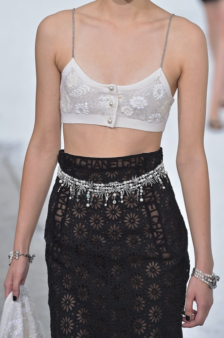 PARIS, FRANCE - OCTOBER 06: A model, outfit detail, walks the runway during the Chanel Womenswear Spring/Summer 2021 show as part of Paris Fashion Week on October 06, 2020 in Paris, France. (Photo by Dominique Charriau/WireImage)