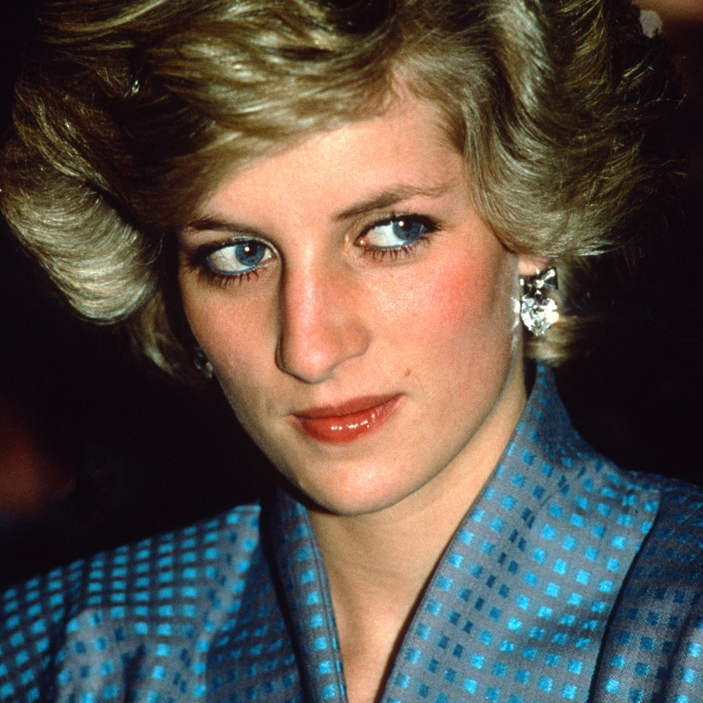 MILAN, ITALY - APRIL 22: Diana, Princess of Wales, wearing a blue suit designed by Bruce Oldfield and described as her 'Dynasty' look, during a visit to Milan on April 22, 1985 in Milan, Italy. (Photo by Anwar Hussein/Getty Images)