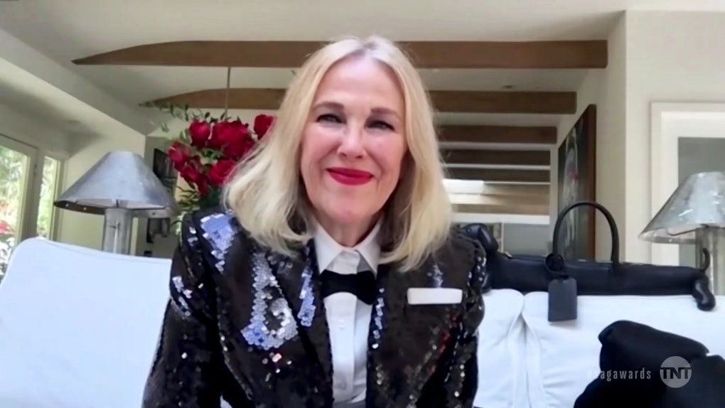"""VARIOUS CITIES - APRIL 04: In this screengrab released on April 4, 2021, Catherine O'Hara, winner of Outstanding Performance by a Female Actor in a Comedy Series for """"Schitt's Creek"""", speaks during the 27th Annual Screen Actors Guild Awards on April 04, 2021. (Photo by 27th Annual SAG Awards/Getty Images for WarnerMedia)"""