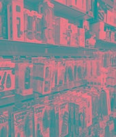 Horizontal color image of a sex shop with various products on the walls in London, United Kingdom. T...