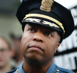Minneapolis Police Chief Medaria Arradondo left, listened as north side community members held a protest and rally at the 4th precinct on Plymouth avenue in response to the shooting death of Thurman Blevins by Minneapolis Police  Sunday June 24, 2018 in Minneapolis , MN. ]  JERRY HOLT • jerry.holt@startribune.com(Photo By Jerry Holt/Star Tribune via Getty Images)