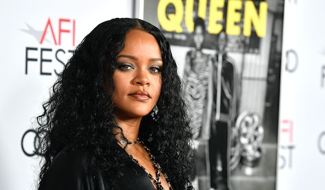 "HOLLYWOOD, CALIFORNIA - NOVEMBER 14: Rihanna attends AFI FEST 2019 Presented By Audi – ""Queen & Slim"" Premiere at TCL Chinese Theatre on November 14, 2019 in Hollywood, California. (Photo by Frazer Harrison/Getty Images)"