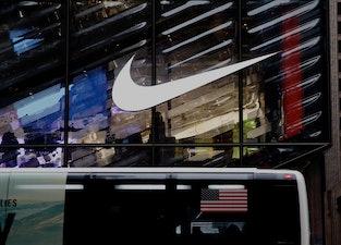 NEW YORK, NEW YORK - FEBRUARY 22: The Nike logo is seen on the Nike store on February 22, 2021 in Ne...