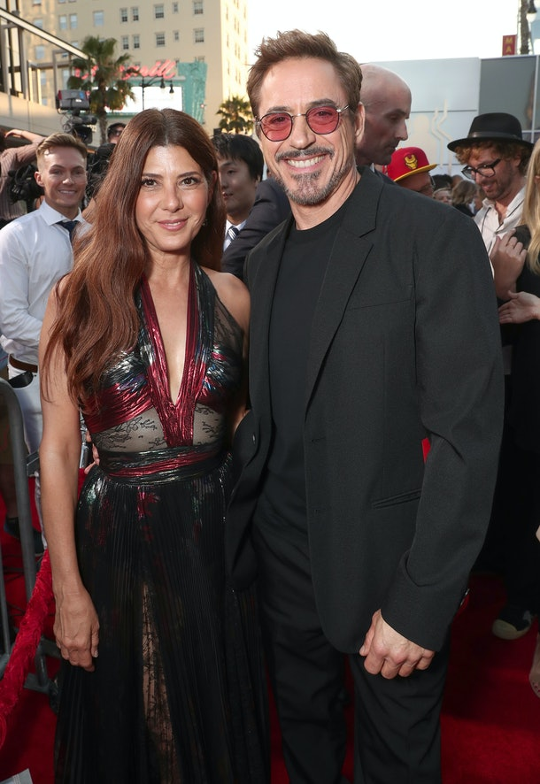 """HOLLYWOOD, CA - JUNE 28:  Marisa Tomei and Robert Downey Jr. attend the premiere of Columbia Pictures' """"Spider-Man: Homecoming"""" at TCL Chinese Theatre on June 28, 2017 in Hollywood, California.  (Photo by Todd Williamson/Getty Images)"""