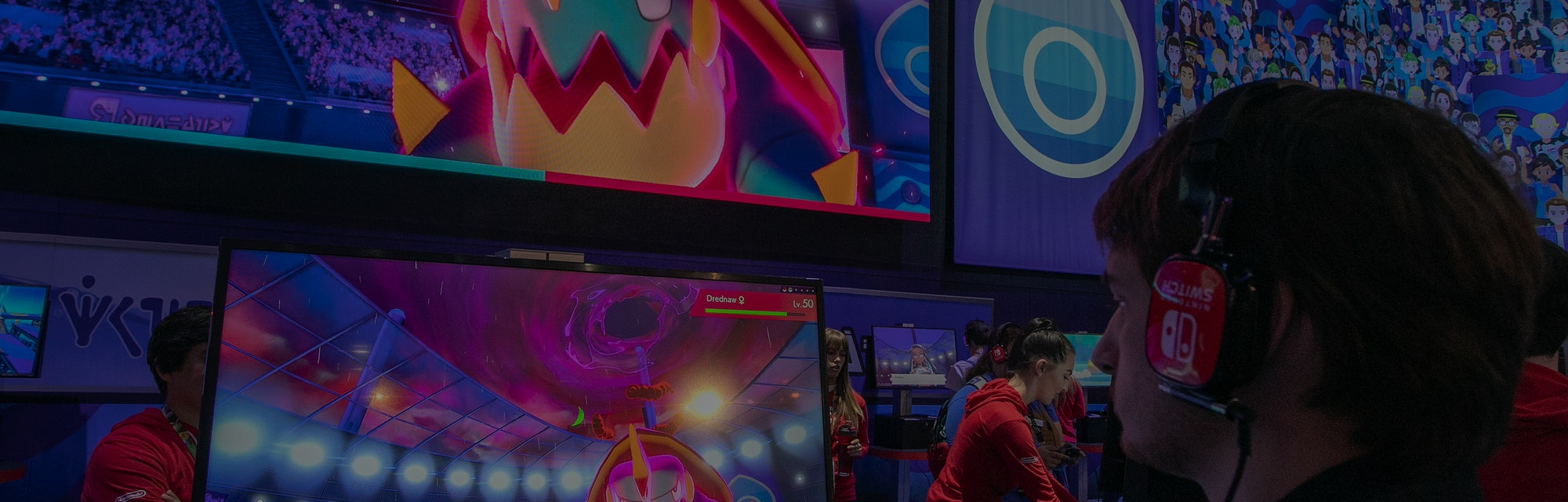 LOS ANGELES, CA - JUNE 12: A gamer plays Pokémon Sword and Pokémon Shield at E3 2019 at the Los Ange...