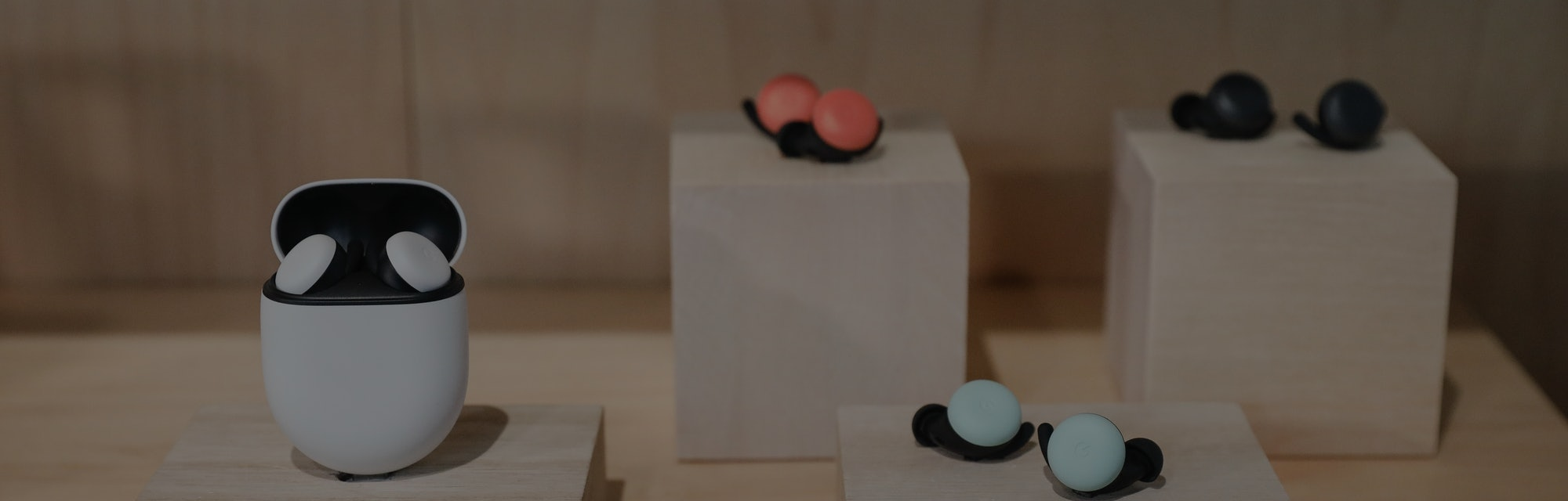 NEW YORK, NY - OCTOBER 15: New Google Pixel Buds ear pods are displayed during a Google launch event...