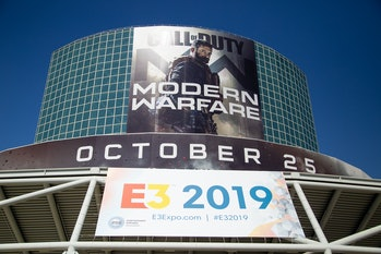 LOS ANGELES, CA - JUNE 12: Welcome signage from main entrance of Annual E3 Event Showcases Video Gam...