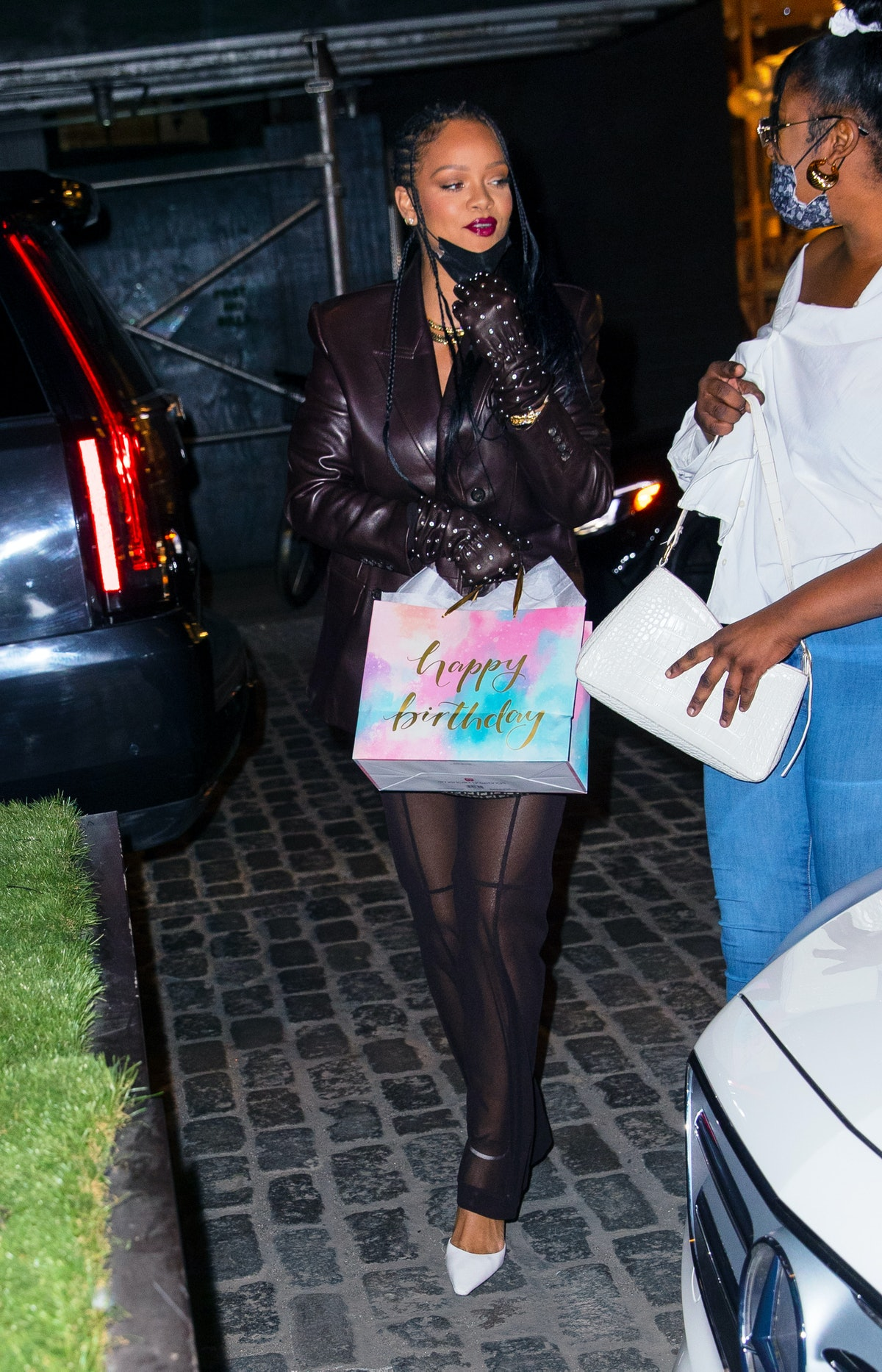 NEW YORK, NEW YORK - APRIL 05: Rihanna is seen in the Meatpacking District on April 05, 2021 in New ...