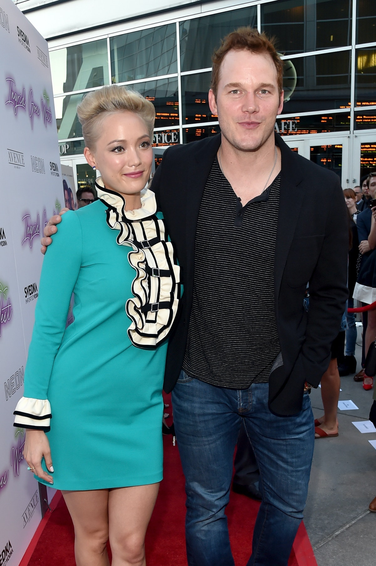"""HOLLYWOOD, CA - JULY 27:  Actors Pom Klementieff (L) and Chris Pratt at the premiere of Neon's """"Ingr..."""