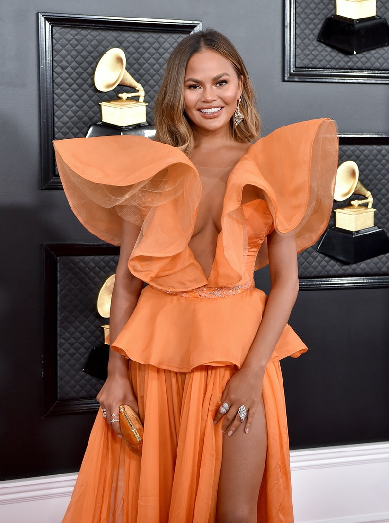 LOS ANGELES, CALIFORNIA - JANUARY 26: Chrissy Teigen attends the 62nd Annual GRAMMY Awards at Staples Center on January 26, 2020 in Los Angeles, California. (Photo by Axelle/Bauer-Griffin/FilmMagic)