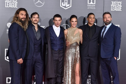 HOLLYWOOD, CA - NOVEMBER 13:  (L-R) Actors Jason Momoa, Henry Cavill, Ezra Miller, Gal Gadot, Ray Fisher and Ben Affleck arrive at the premiere of Warner Bros. Pictures' 'Justice League' at Dolby Theatre on November 13, 2017 in Hollywood, California.  (Photo by Axelle/Bauer-Griffin/FilmMagic)
