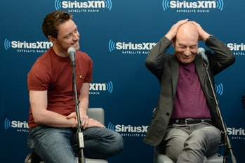 NEW YORK, NY - MAY 21:  Actors James McAvoy (L) and Sir Patrick Stewart of X-MEN: DAYS OF FUTURE PAST participate in the SiriusXM Town Hall at the SiriusXM Studios on May 21, 2014 in New York City.  (Photo by Dimitrios Kambouris/Getty Images for SiriusXM)