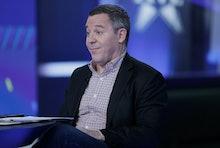 """NEW YORK, NY - NOVEMBER 13:  Greg Gutfeld host of """"The Five"""" interviews Jenna Bush Hager and Barbara..."""