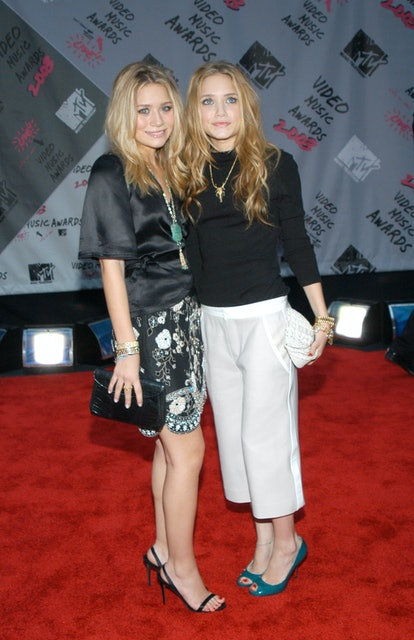 Mary Kate Olsen and Ashley Olsen during 2003 MTV Video Music Awards - Arrivals at Radio City Music Hall in New York City, New York, United States. (Photo by Stephen Lovekin/FilmMagic)