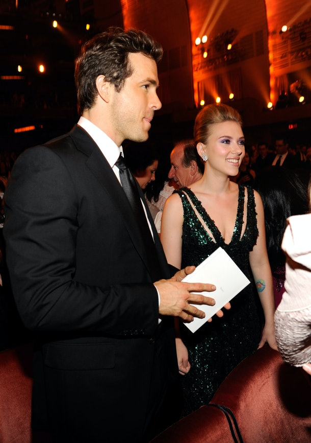 (EXCLUSIVE, Premium Rates Apply) NEW YORK - JUNE 13:  (EXCLUSIVE COVERAGE; PREMIUM RATES APPLY) Ryan Reynolds and Scarlett Johansson in the audience at the 64th Annual Tony Awards at Radio City Music Hall on June 13, 2010 in New York City.  (Photo by Kevin Mazur/WireImage)