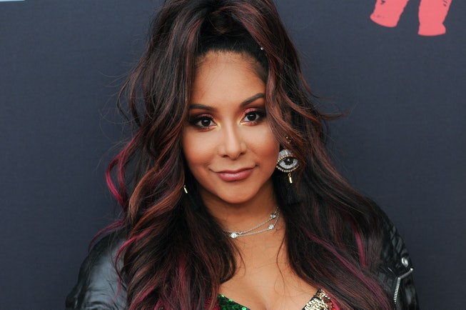 PRUDENTIAL CENTER, NEWARK, NEW JERSEY, UNITED STATES - 2019/08/26: Snooki (Nicole Polizzi) attends the 2019 MTV Video Music Video Awards held at the Prudential Center in Newark, NJ. (Photo by Efren Landaos/SOPA Images/LightRocket via Getty Images)