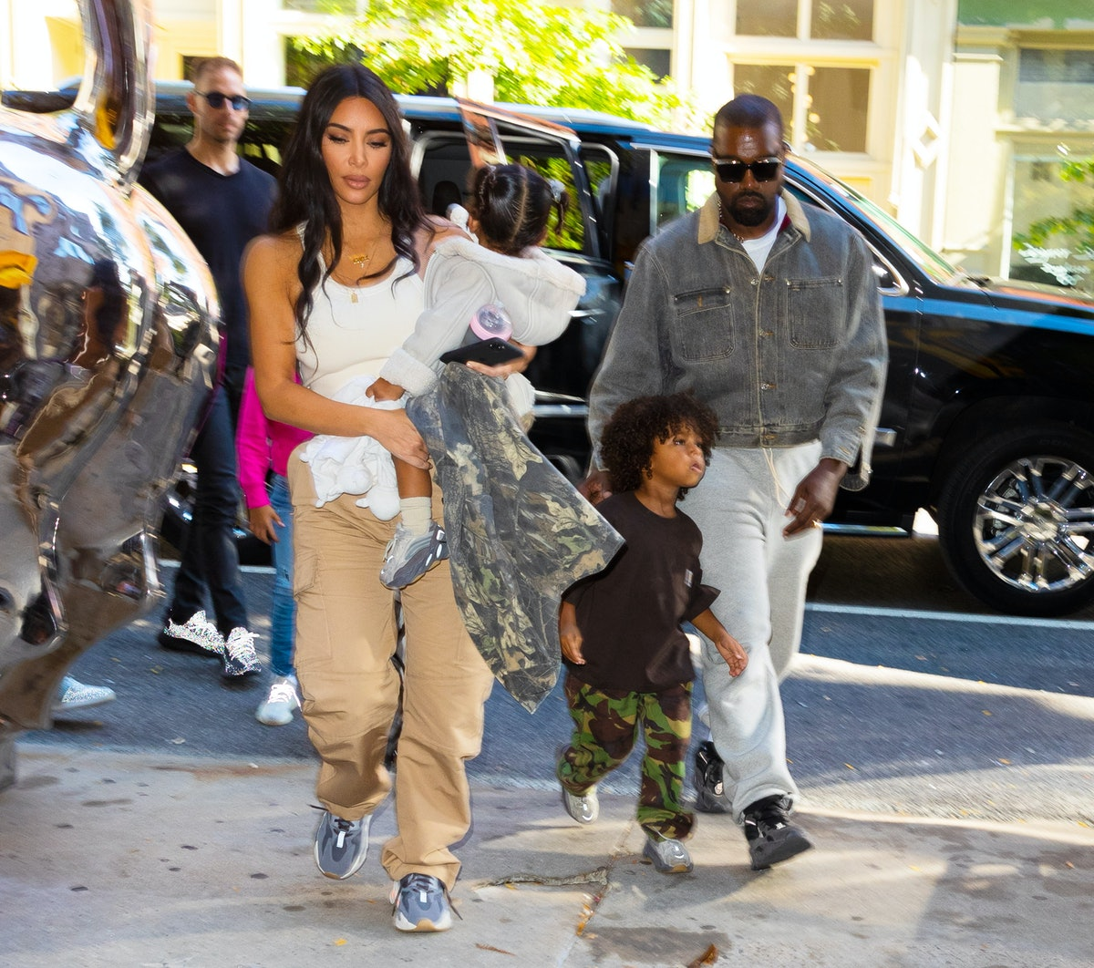 NEW YORK, NEW YORK - SEPTEMBER 29: Kim Kardashian, Kanye West take their kids North West, Saint West...