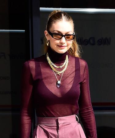 NEW YORK, NY - OCTOBER 26:  Model Gigi Hadid is seen walking in soho  on October 26, 2019 in New Yor...