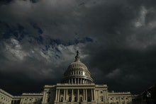 WASHINGTON, DC - JANUARY 23: Dark clouds rolls past the U.S. Capitol Tuesday afternoon, January 23, ...