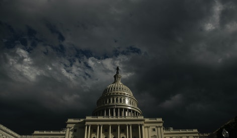 WASHINGTON, DC - JANUARY 23: Dark clouds rolls past the U.S. Capitol Tuesday afternoon, January 23, 2018 in Washington, DC. (Photo by Drew Angerer/Getty Images)