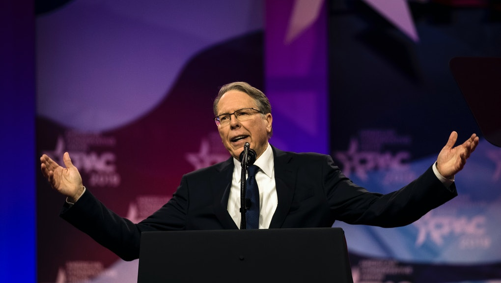 NATIONAL HARBOR, MD - MARCH 2: National Rifle Assocation CEO Wayne LaPierre speaks at CPAC in National Harbor, Maryland Saturday March 2, 2019. (Photo by J. Lawler Duggan/For The Washington Post via Getty Images)