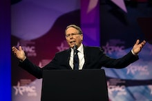 NATIONAL HARBOR, MD - MARCH 2: National Rifle Assocation CEO Wayne LaPierre speaks at CPAC in Nation...