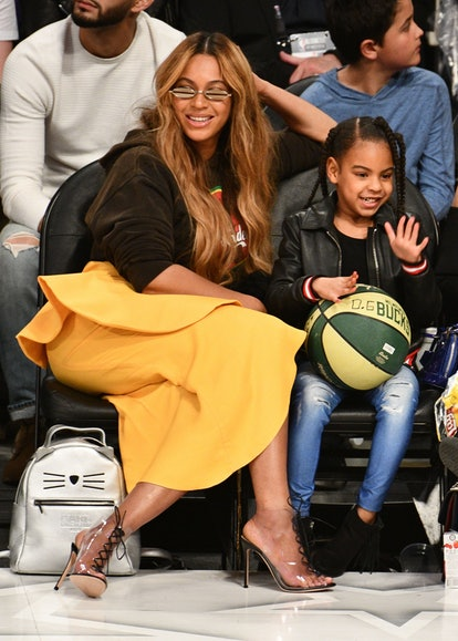 LOS ANGELES, CA - FEBRUARY 18:  Beyonce and Blue Ivy Carter attend The 67th NBA All-Star Game: Team ...