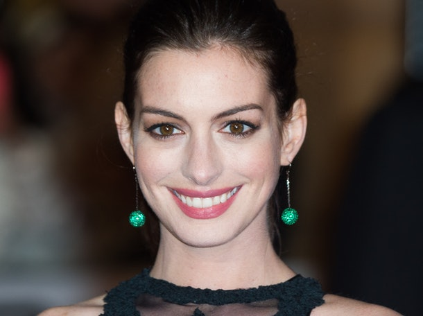 "LONDON, ENGLAND - SEPTEMBER 27:  Anne Hathaway attends the UK Premiere of ""The Intern"" at Vue West End on September 27, 2015 in London, England.  (Photo by Samir Hussein/WireImage)"
