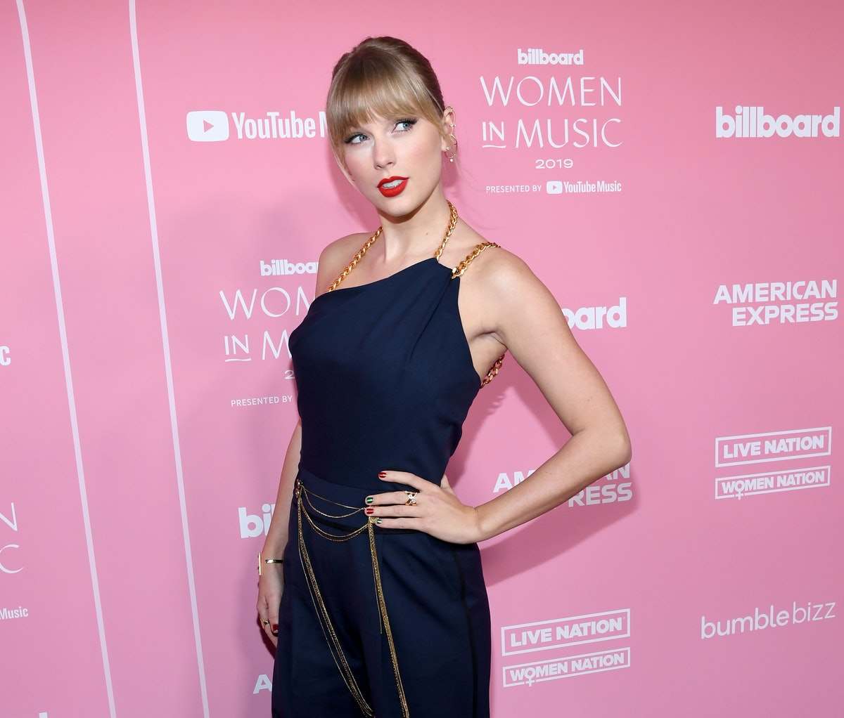 LOS ANGELES, CALIFORNIA - DECEMBER 12: Taylor Swift attends Billboard Women In Music 2019, presented by YouTube Music, on December 12, 2019 in Los Angeles, California. (Photo by Kevin Mazur/Getty Images for Billboard)