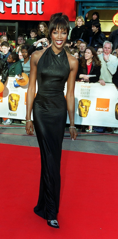 Supermodel Naomi Campbell arrives at the Orange British Film Awards (BAFTA's)at the Odeon cinema in London's Leicester Square.   (Photo by William Conran - PA Images/PA Images via Getty Images)