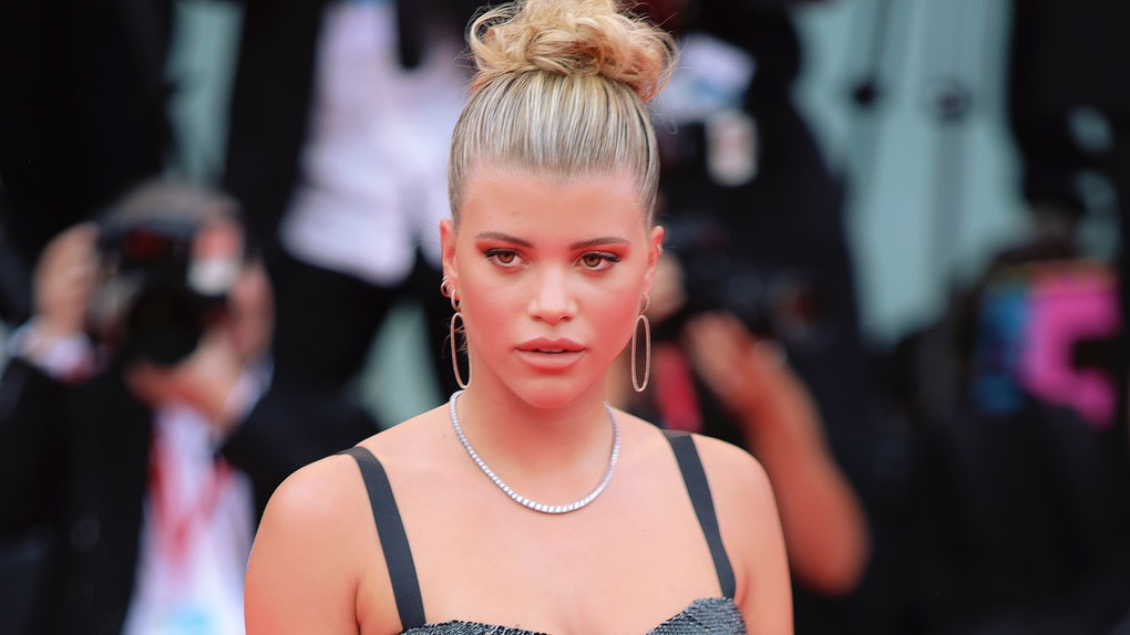 "VENICE, ITALY - AUGUST 28: Sofia Richie walks the red carpet ahead of the Opening Ceremony and the ""La Vérité"" (The Truth) screening during the 76th Venice Film Festival at Sala Grande on August 28, 2019 in Venice, Italy. (Photo by Laurent KOFFEL/Gamma-Rapho via Getty Images)"