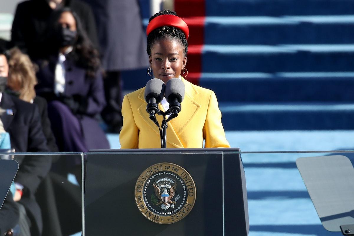 WASHINGTON, DC - JANUARY 20: Youth Poet Laureate Amanda Gorman speaks during the inauguration of U.S...