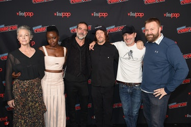 """NEW YORK, NY - OCTOBER 06:  (L-R) Melissa McBride, Danai Gurira, Jeffrey Dean Morgan, Norman Reedus, Andrew Lincoln, and Robert Kirkman attend the NYCC panel and fan screening of """"The Walking Dead"""" episode 901 at The Theater at Madison Square Garden on October 6, 2018 in New York City.  (Photo by Jamie McCarthy/Getty Images for AMC)"""