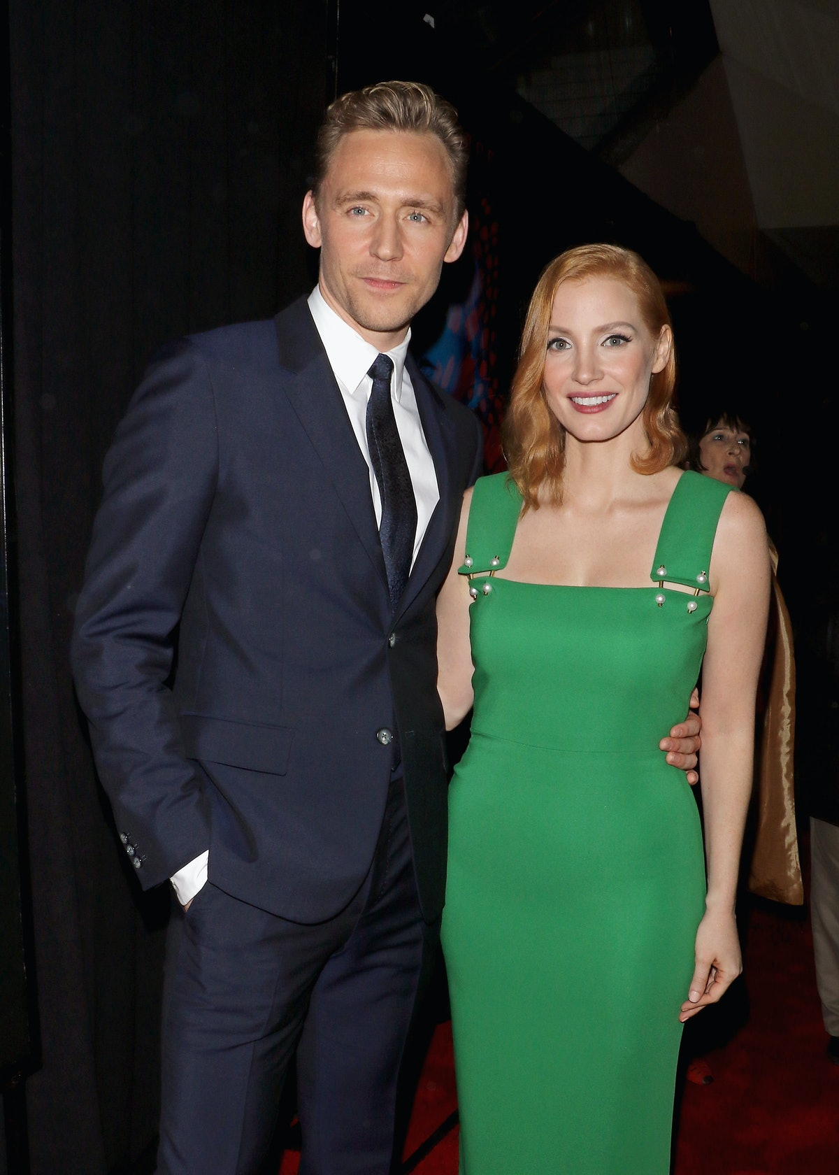 """NEW YORK, NY - OCTOBER 14:  Actors Tom Hiddleston and Jessica Chastain attend the """"Crimson Peak"""" New..."""