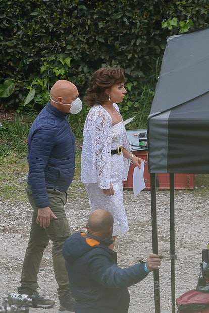 """ROME, ITALY - APRIL 07: Lady Gaga wearing a bride gown on """"House of Gucci"""" set on April 7, 2021 in R..."""