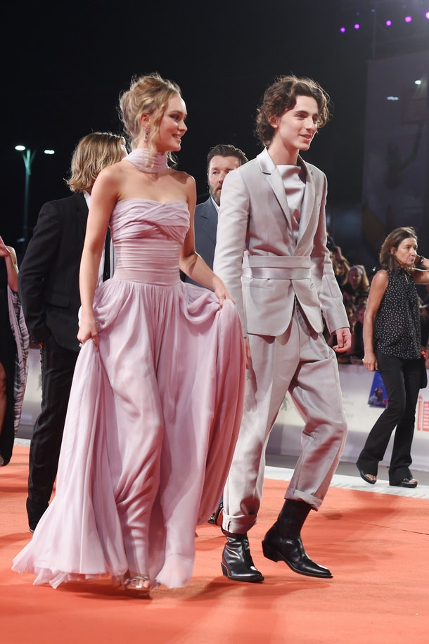 "VENICE, ITALY - SEPTEMBER 02: Lily-Rose Depp and Timothee Chalamet attend ""The King"" red carpet during the 76th Venice Film Festival at Sala Grande on September 02, 2019 in Venice, Italy. (Photo by Stefania D'Alessandro/WireImage,)"